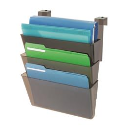 Stackable DocuPocket® for Partition Walls - 3 Pockets - Letter - Smoke